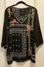 LKnew! Large Johnny Was Cupra Rayon V-neck Black Floral Embroidered Tunic Top L