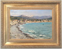 Italian Coast Antique Oil Painting Late 19th Century Italian Neapolitan School