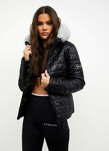 Gym King Womens Arctic Fur Quilted Jacket - Black