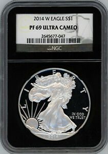 2014-W Silver Eagle NGC PF69 Ultra Cameo UCAM - Black Core – No Spots Or Toning!