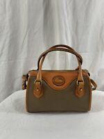 DOONEY & BOURKE taupe tan leather satchel shoulder bag purse crossbody 90s