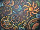 GEARS   PAINTING Art,Original,Acrylic,Steampunk,Mechanical,Metal,Yin Yang,Color
