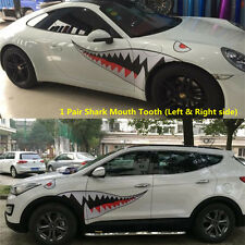 1 Pair Vinyl Shark Teeth Mouth Graphics Sticker Decal for Car Left Right Door