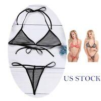 US Women Mesh Bikini Set Fishnet Bra Top Briefs Lingerie Beach Swimwear Bathing