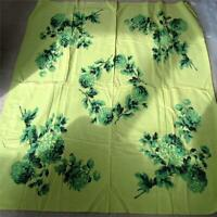 Vintage 50s Cotton Print Tablecloth Chartreuse Green Football Mums 44 x 52