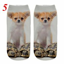 3d Unicorn Print Men Women Casual Low Cut Socks Cotton Animals Pattern Socks 5 Dog