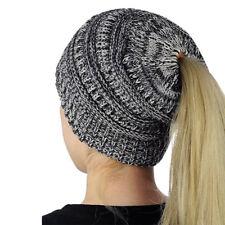 Winter Women Soft Messy High Bun Cap Ponytail Stretchy Knit Beanie Skull Hat NEW