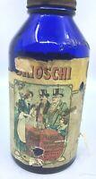 Antique Cobalt Blue Brioschi Antacid Glass Jar With Label