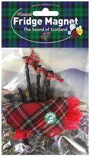 Scottish Gift: Red Tartan Bagpipes Musical Fridge Magnet