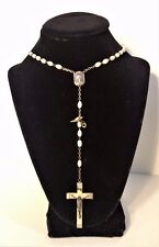 VINTAGE LOURDES Mother Of Pearl Beads Rosary Holy Relic