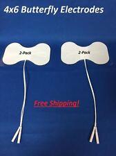 "2 Pads 4""x 6"" Premium White Foam Butterfly Tens Unit Electrode Tens 3000-7000"