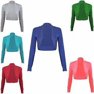 New Ladies Womens Long Sleeve Bolero Ribbed Shrug Knit Cardigan Tops Stretch Top