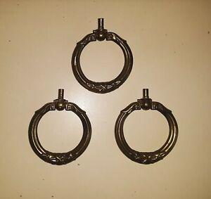 Lot of 3 Vintage Ring Pulls Drawer Pulls Ornate Aged Brass Color Furniture