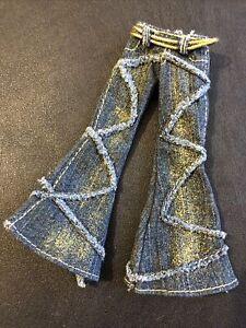 "Bratz 10"" Doll Clothes Nona Twiins Blue Denim Jeans With Gold Belt"