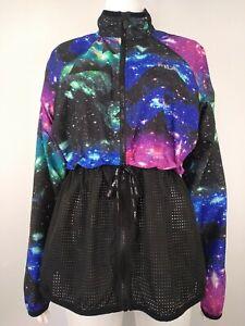FILA Sport Space Galaxy Windbreaker Jacket M Womens Full Zip Drawstring Waist