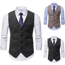 Herren Nadelstreifen Weste Business Freizeit Blazer Jacke Vintage Anzugweste DE