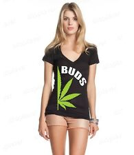 BUDS Couples Matching Marijuana Women's V-Neck T-shirt Best Buds Weed Shirts