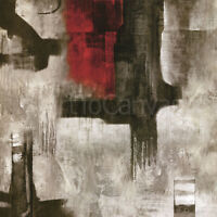 "35W""x35H"" SINGULAR VISION by ALEX EDWARDS RED GREY GRUNGE DETAILED CANVAS"