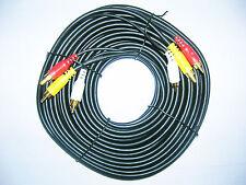 3 Phono Heavy Duty Oxygen Free Triple RCA Lead Video Audio AV 15M 46ft Cable