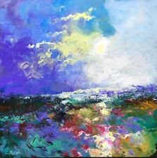 """""""Edge Of Dusk"""" ORIGINAL ABSTRACT LANDSCAPE OIL PAINTING BY CLAIRE MCELVEEN"""