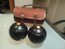 Vintage Wooden Lawn Bowls in canvas & Leather Carry Case Gunn Moore Nottingham