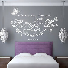 Removable Bob Marley Quote Love The Life You Live Art Wall Sticker Decals New