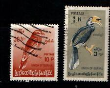 Burma 1964 10p and 1k Birds SG178, 183 Used
