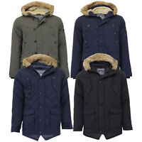 Mens Parka Jacket Tokyo Lee Coat Quilted Padded Sherpa Fur Hoodie Fish Tail New