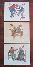 "Lot 3 Norman Rockwell Embossed Prints Fishing Dancing Music Lessons Theme 8""x10"""