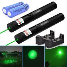 2pcs 200Miles Ultra Strong Green Laser Pointer Pen Star Pattern Lazer+Batt+Char