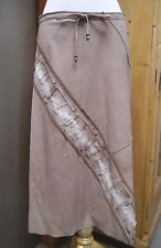NEW HENRY BEGUELIN beige BUTTER SOFT leather skirt Italian size 42