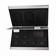 Silver Aluminum Memory Card Case 4 Slots-SD Card+8 Slots-Micro SDHC Card-SanDIsk