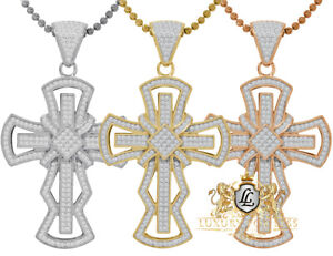 Real Silver 14K Gold Finish Simulated Diamond Jesus Cross Pendent Charm + Chain