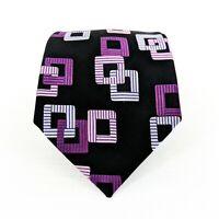BCBG//ATTITUDE 100% Silk Hand Sewn Necktie Tie Black Purple Pink Silver