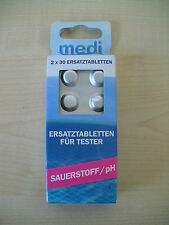 2 x 30 Medi Pool Ersatztabletten Wassertester Pool Sauerstoff 2306601MP / 12/16