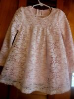 Toddler Girls Pink Dressy Dress w/Lace Overlay, 4T, Bling, Nannette Baby
