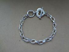 STERLING 925 OVAL CHAIN LINK BRACELET WITH DANGLING HEART CHARM & TOGGLE CLOSURE