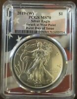 2019 W  American Silver Eagle PCGS MS70 First Day of Issue American Flag Core