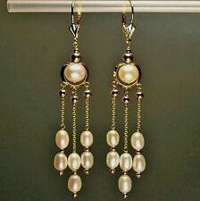 14k Solid Yellow Gold Natural Freshwater White Pearl Earrings Leverback 4.7gram