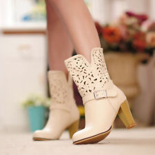 Womens Hollow Out Mid Calf Boots Round Toe Block High Heels Casual Shoes Pull on