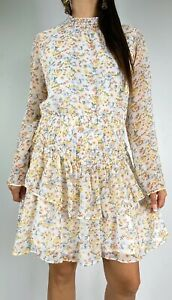NEW ASOS White Floral Print Long Sleeve Shirred High Neck Dress Plus Size AU 18