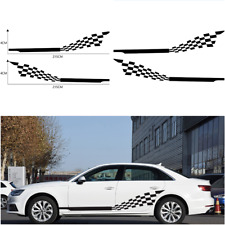 2 PCS Car Both Side Stripes Decals Stickers Auto Vinyl Graphics Checkered flag