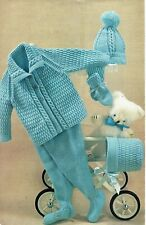 Baby pram set DK. Knitting pattern. Coat leggings bonnet mittens hat. baby set.
