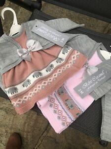 Spanish Knitted Baby Girls Dress Salmon Pink Cardigan Bolero 0-24 Mths 🌟🌟🌟