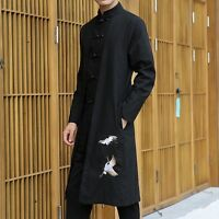Retro Mens Chinese Style Embroidery Pattern Stand Collar Long Trench Coat Jacket