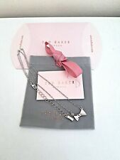 Ted Baker Tengar Tux Bow Pendant Necklace Silver Tone adjustable