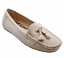 LADIES FLAT BEIGE SLIP-ON COMFY YACHT DECK CASUAL LOAFERS SMART SHOES SIZES 3-8
