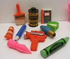 vintage ERASERS LOT Movie Camera, Film, Pen, Crayon, Bulb, Brush, Book 1980s
