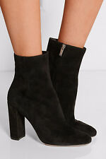 Womens Ladies Black Round Toe Ankle Boots Block High Heel Zipper Booties Size