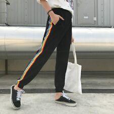 Women Rainbow Side Stripe Elastic Waist Pants Sweatpants Casual Trousers Black